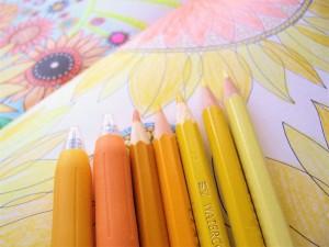色をテーマに大人のぬりえを楽しむシリーズ。 第一弾は黄色。